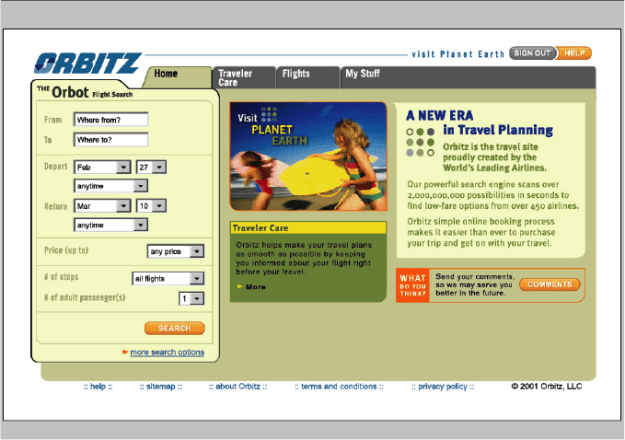First Orbitz Website June 2001