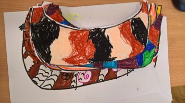 Viking boats, coloured using pencils, pastels and paint.