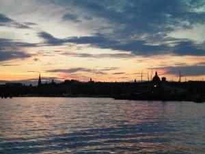 Sun sets over Stockholm