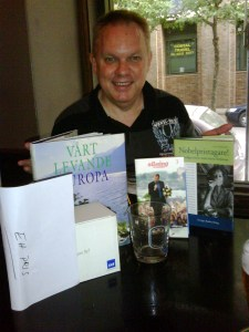 Graeme aka Barbie Rogers shows off the prizes I won at the Swedish Bazaar