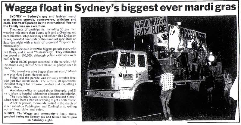 Mardi Gras float in 1994, as featured in The Daily Advertiser