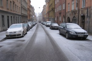 Snow returns to the streets of central Stockholm