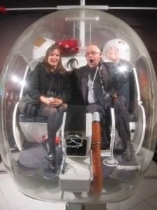 Judy and James in the ABBA helicopter