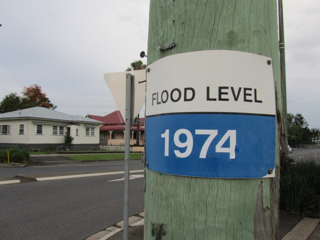The flood markers of South Lismore, not far from where my sisters both live.