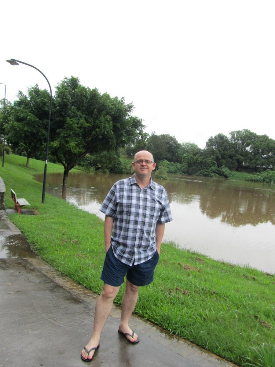This is me near the Ballina Street Bridge, minor flooding, in Lismore