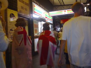 Cricket fans on Oxford Street