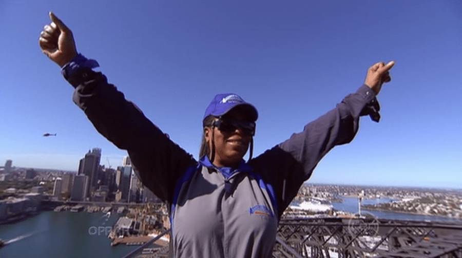 Oprah on the Sydney Harbour Bridge