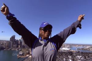 Oprah on the Sydney Harbour Bridge