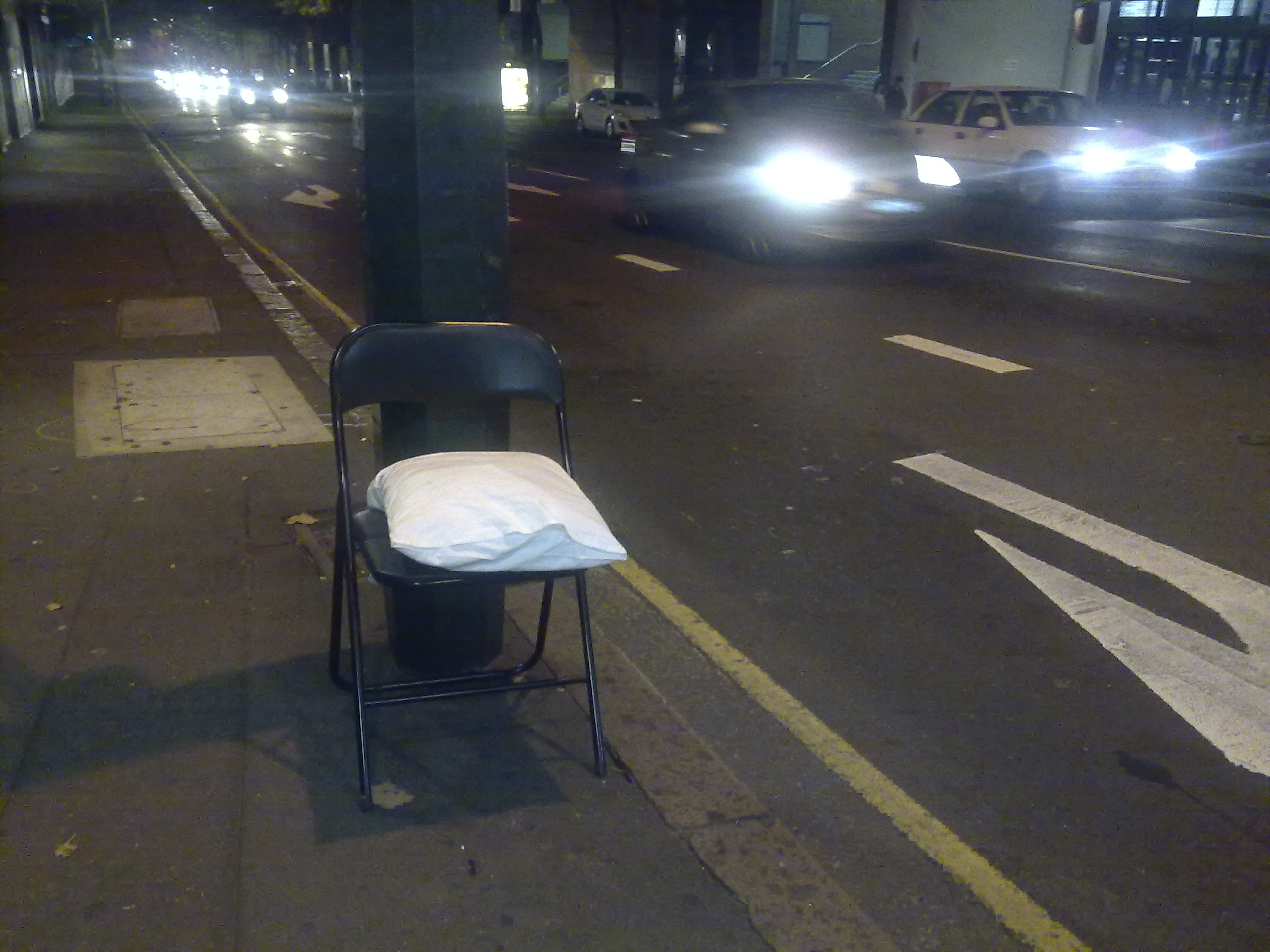 Lone chair on Harris Street