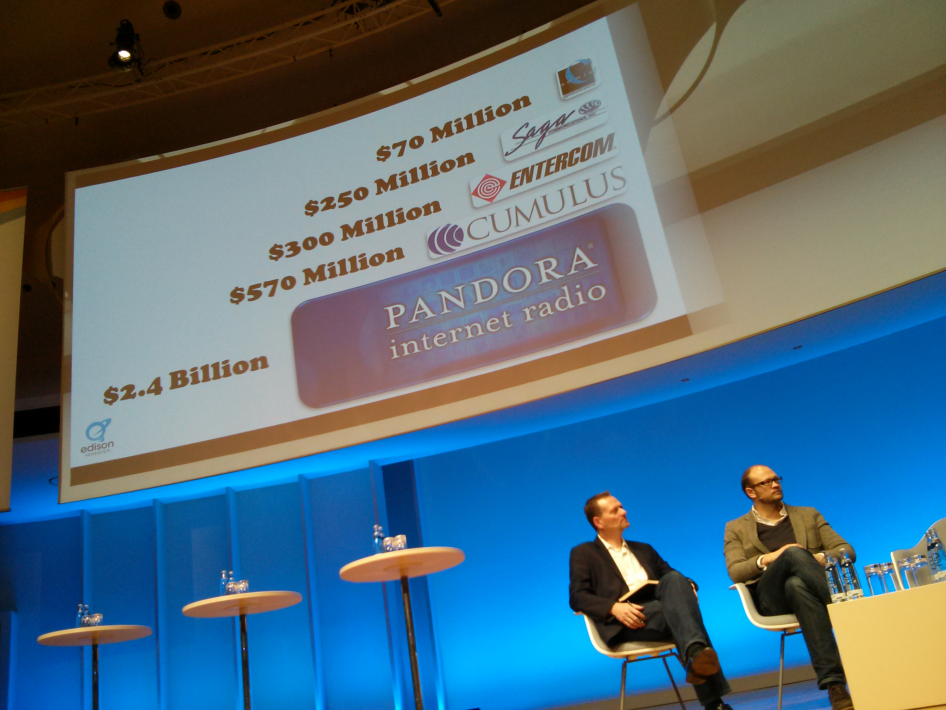 Market value of Pandora compared to US radio networks at Radio Days Europe 2013