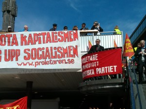 May Day speeches in the centre of Stockholm