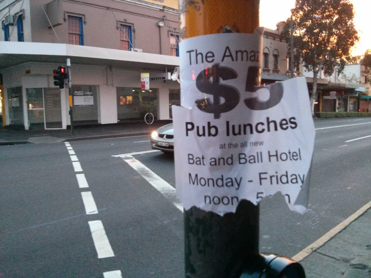 Five dollar lunch at the Bat and Ball