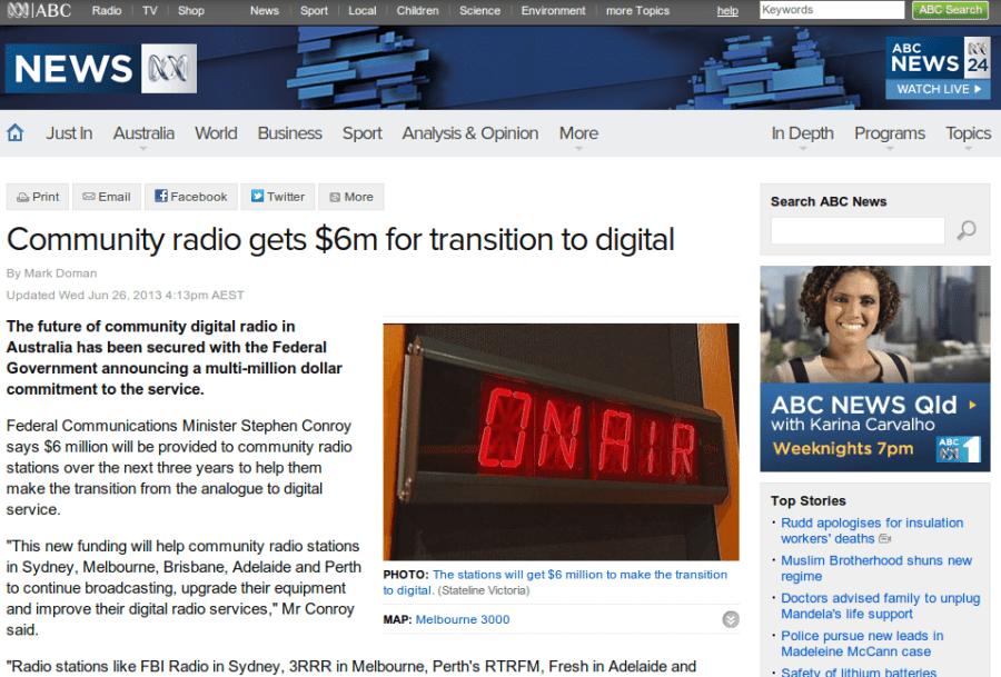 ABC Radio news report about community radio funding for digital radio transmission.
