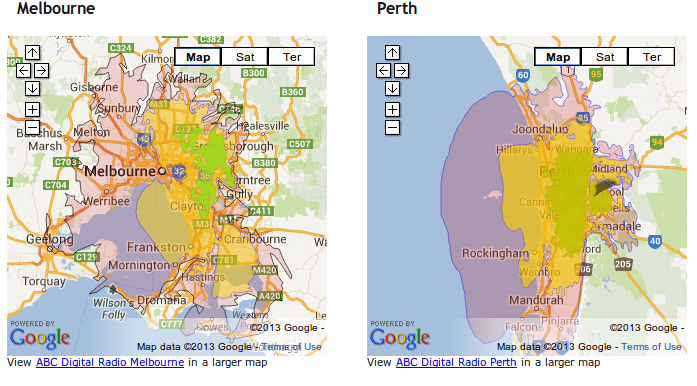 Digital radio transmission maps for Melbourne and Perth