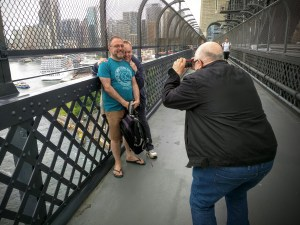 Tourist snaps on the Sydney Harbour Bridge