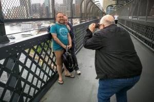 Tourist snaps on the Sydney Harbour Bridge