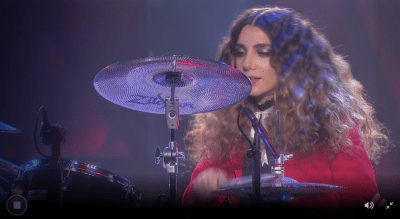 Melodifestivalen - Gina plays drums in Bowie Tribute