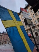 Swedish flag at Zinkensdamm busstop