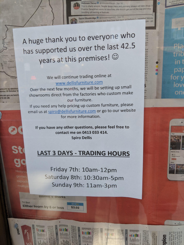 Shop Closure in Surry Hills