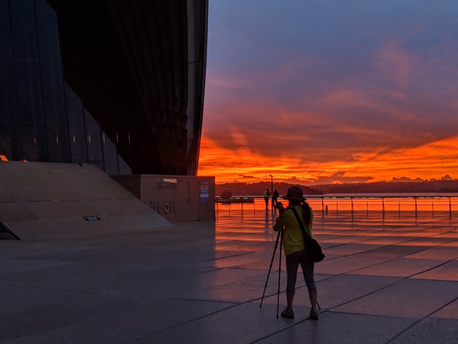 I wasn't the only photographer taking in the spectacular views, this morning at the Sydney Opera House.