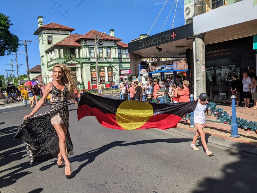 The start of the Tropical Fruits street parade, which is on Bundjalung Widgibal land, now known as Lismore, my home town.