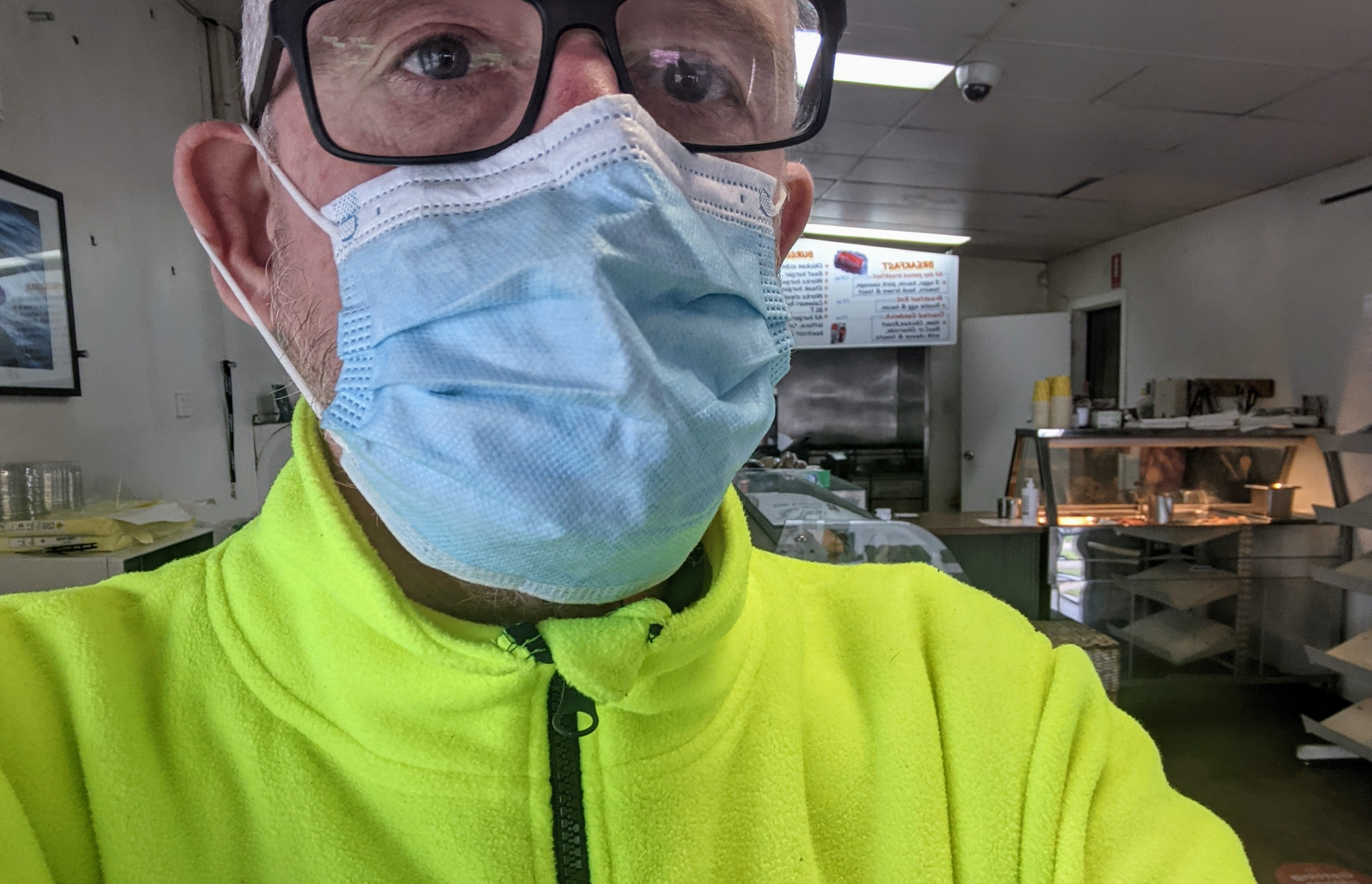Grabbing lunch from Skimmos with everyone else in hi-vis