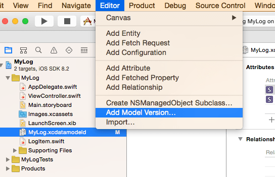 Adding a Model Version in Xcode