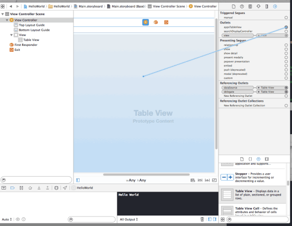 Connecting the Table View to the View Controller