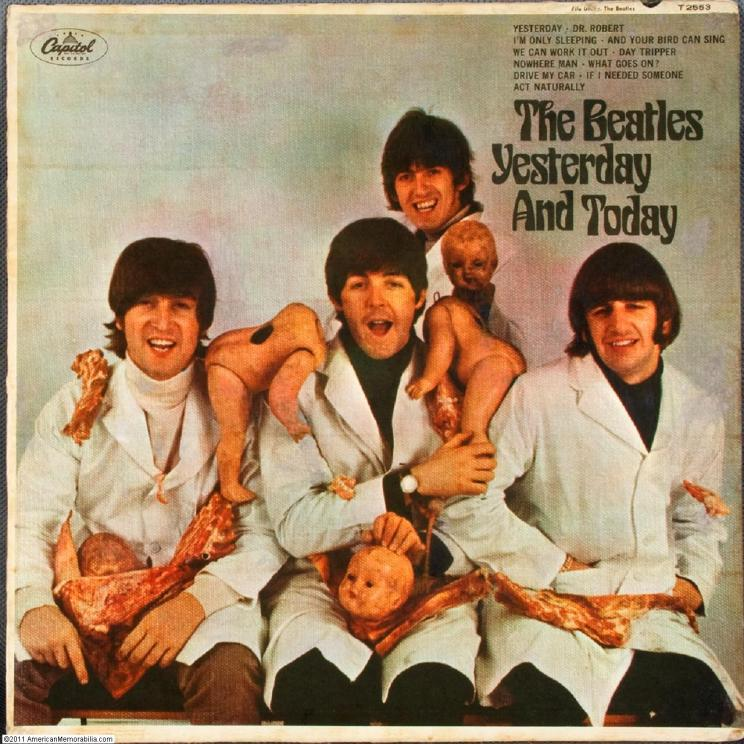 A bizarre choice for The Beatles. Commentary on the Fab Four feeling like pieces of meat? Drug-induced hilarity?