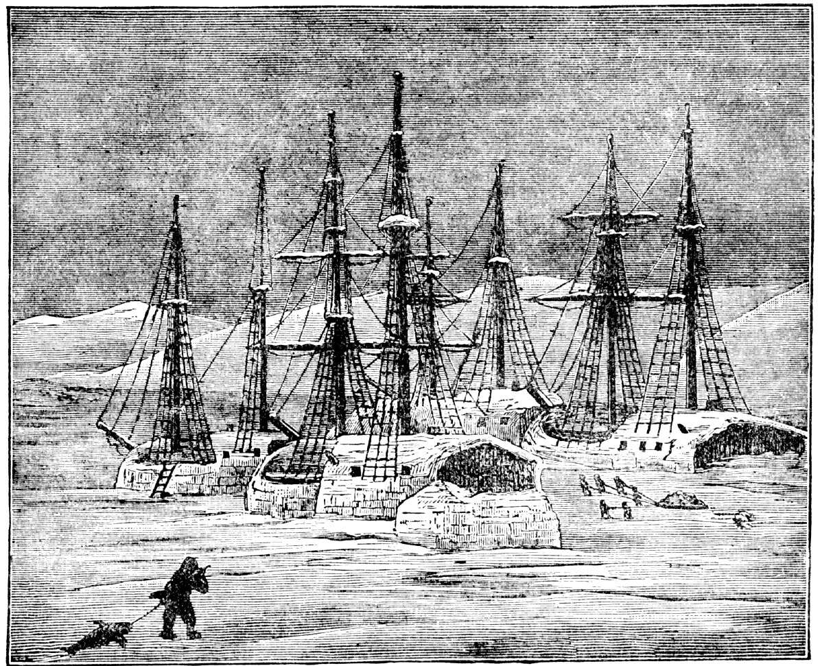 The ships of the Franklin expedition trapped in ice