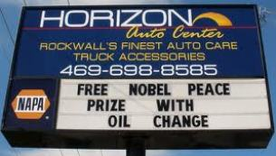 Nobel Prize oil change