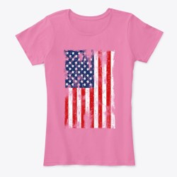 American Flag Grunge Style True Pink T-Shirt Front