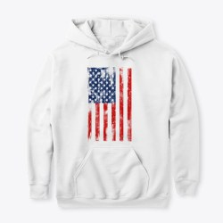 American Flag Grunge Style White T-Shirt Front