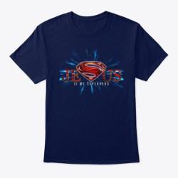 Jesus Is My Super Hero! Navy T-Shirt Front
