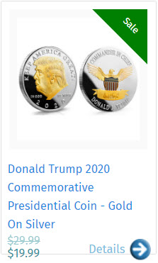 Donald Trump 2020 Commemorative Presidential Coin - Gold On Silver