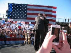 Former senator George Allen embraces Rubio as he takes the stage. Photo by Eva Dorn