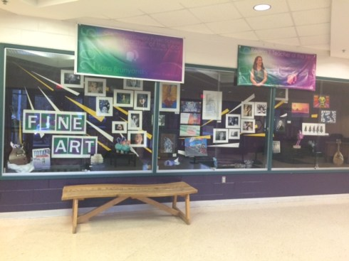 Teachers and students provided art to be put on display at the entrance of the school. Photo by Corinne Minnick