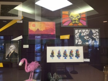 Some students provided paintings to put on show. Photo by Corinne Minnick.