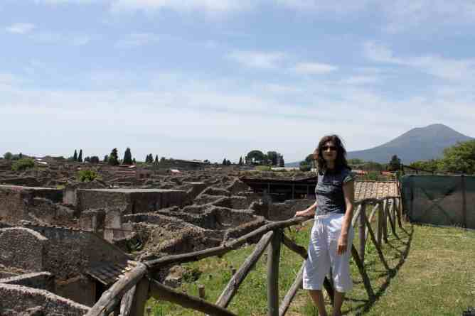 The excavated ruins of Pompeii with Vesuvius in the background