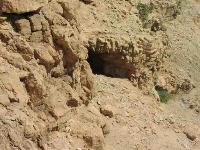 """Entrance to Cave 2000-2001 at the Southern tip of Masada, the """"cave of the skeletons."""""""