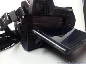 Sony Alpha NEX-6 LCD screen approximately 75 degrees tilt upward when the screen fully pulled out