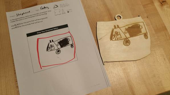 Hand drawn image and the resulting lasercut ornament