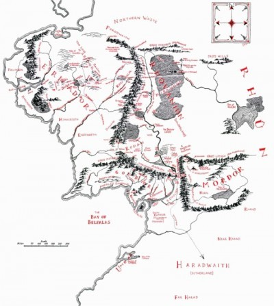 Map of Middle-Earth from Tolkien's Lord of the Rings