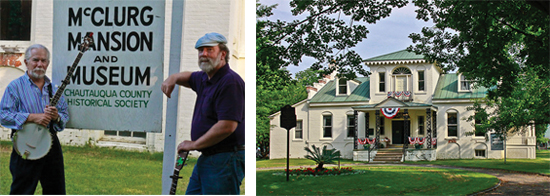 Photos by Niles Dening. Left: Musical duo Doc and Bill will once again provide musical entertainment for attendees of the Chautauqua County Historical Society's 2014 Gala Fundraiser on June 7. The fundraiser will also feature hearty hors d'oeuvres and wine tasting. Right: The McClurg Museum in Moore Park, Westfield is the home of the Chautauqua County Historical Society and location for the organization's 2014 Gala Fundraiser, set to take place on Saturday, June 7.