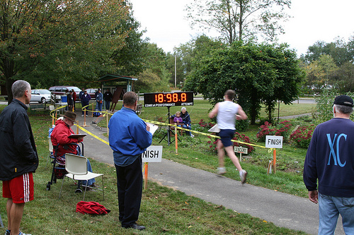 Courtesy photo. Crossing the finish line will be an exciting experience for the participants in the Jamestown Audubon Center & Sanctuary Wild 5K Run/Walk on Saturday, July 26. Open to all ages, the race will raise money for the care of Liberty, Audubon's non-releasable resident Bald Eagle.