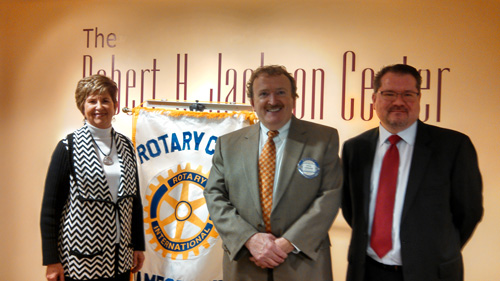 Assistant District Governor Sharon Hamilton, speaker Paul Cesana of The Resource Center and President Todd Allen at a recent meeting of the Jamestown Noon Rotary.