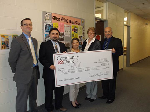 (L to R): Carl Swan, branch manager at Westfield Community Bank N.A.; Joshua Freifeld, CHRIC executive director; Mayra Alvarado, homeownership program manager; Lisa Allenson, district manager Southern Chautauqua County; Mark Catalano, district manager Northern Chautauqua County.
