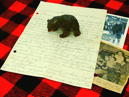 The wooden Hokkaido brown bear my missionary aunt gave me many years ago, a couple of other artifacts, and the original 8-year old's masterpiece. Photos Courtesy of  Steve Sorensen