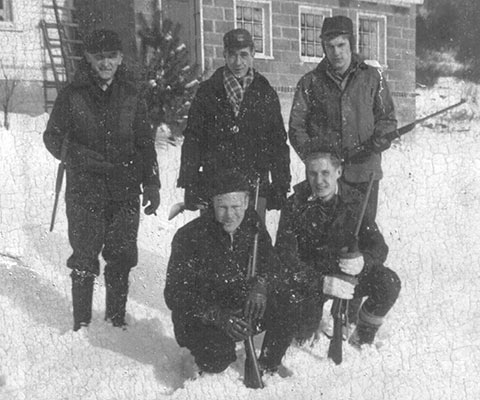 In the 1950s few rifles had telescopic sights and most couldn't shoot one-inch groups, yet the old timers who carried them killed plenty of deer. The two in the front are my uncle and my father. This snapshot, by the way, may not be a good example of gun safety. Photo Courtesy of Steve Sorensen