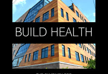 The Chautauqua Center's Capital Campaign Build Health logo, featuring an image of the new health center at 107 Institute Street in Jamestown